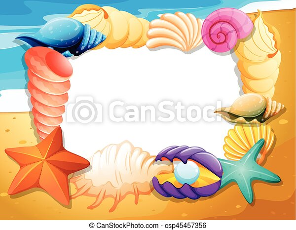 border template with seashells on beach illustration
