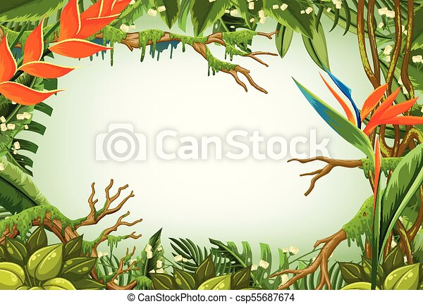 border template with trees in the forest illustration