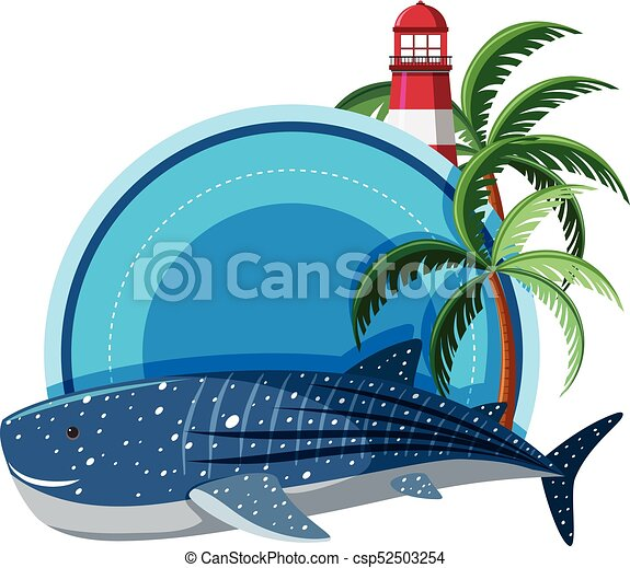 Border Template With Whale Shark And Lighthouse Illustration