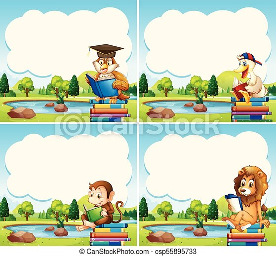 Border Templates With Animals Reading Books Illustration Canstock