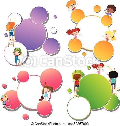 border templates with kids painting vector - Art Templates For Kids