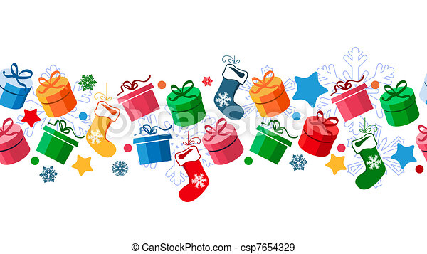 Border with Christmas gift boxes and santa socks - csp7654329