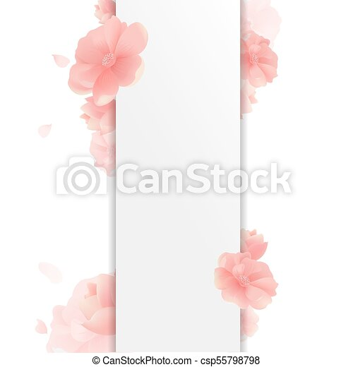 Border With Flowers And White Background - csp55798798