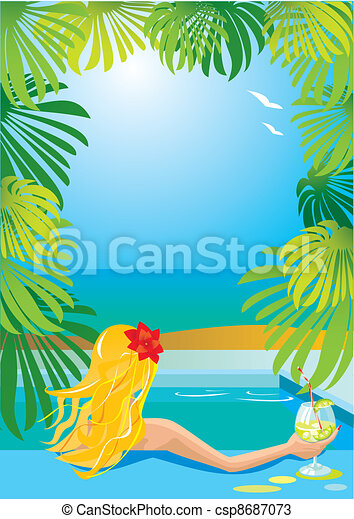 Border with girl in swimming pool - csp8687073