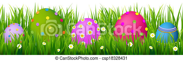 Border With Grass And Eggs Easter Card - csp18328431