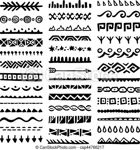 59d991da9a8af Borders collection in ethnic style. Collection of hand drawn borders ...