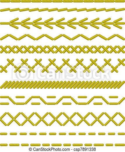 borders., stitches., varrás, seamless - csp7891338