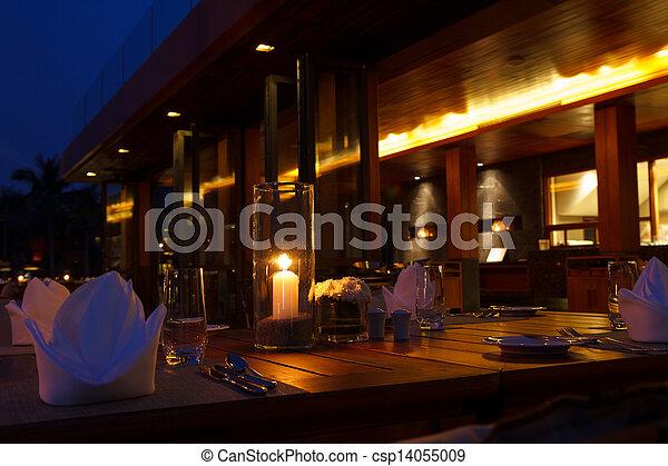 bordläggar, kväll, restaurang, utomhus- bordlägga, inställning - csp14055009