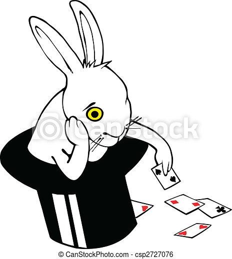 Bored bunny in magic hat - csp2727076