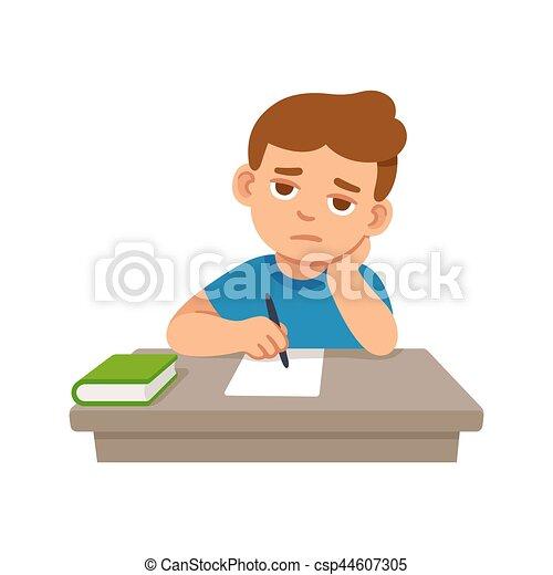 Bored kid at school. Bored kid doing homework or sitting ...