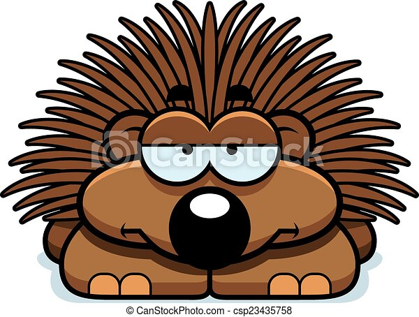 bored little porcupine a cartoon illustration of a little rh canstockphoto com porcupine fish clipart porcupine clipart black and white