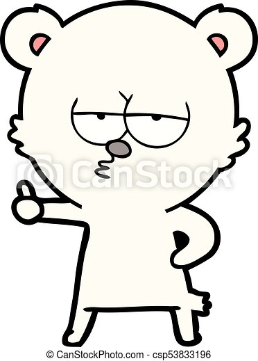 bored polar bear cartoon giving thumbs up sign - csp53833196