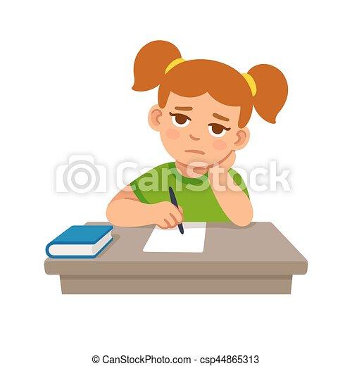 Bored school girl - csp44865313