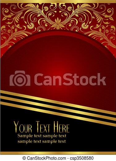borgogna, foglia, ornare, reale, fondo, oro - csp3508580