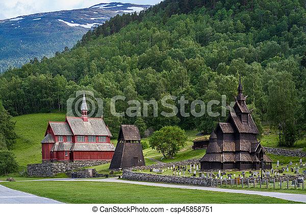 Borgund Stave Church complex - csp45858751