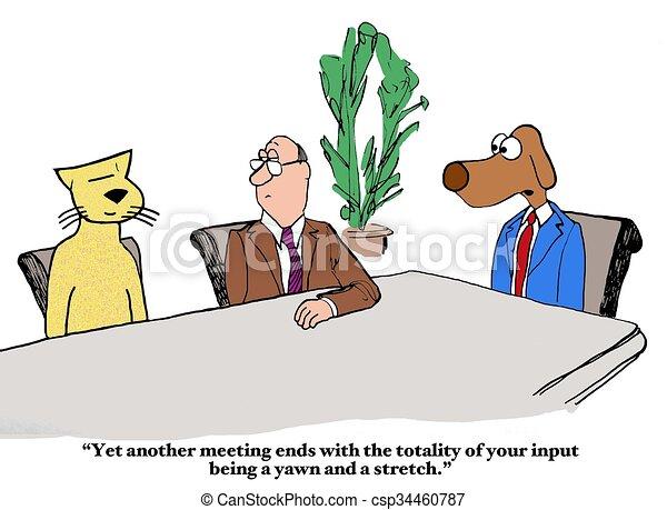 Boring meeting. Business cartoon about a boring meeting.