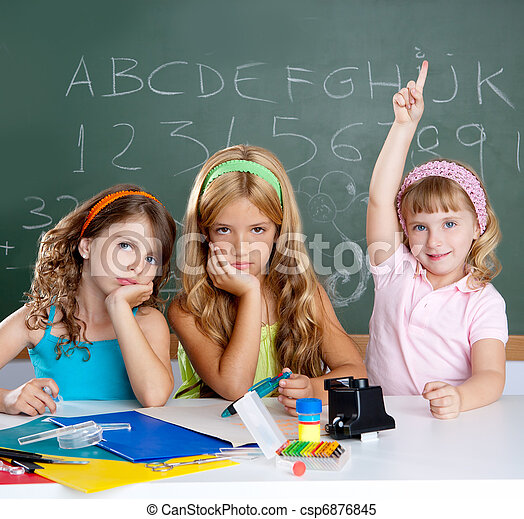 boring sad student with clever children girl raising hand - csp6876845
