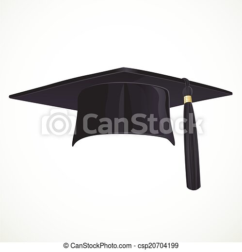 Sombrero Académico Negro con una borla aislada en fondo blanco - csp20704199