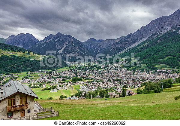 Bormio city and Dolomites top view - csp49266062