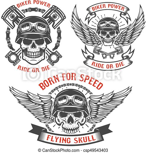 Born for speed. Set of biker skulls in helmets, with wings and p - csp49543403