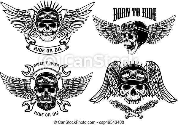 Born to ride. Set of biker skulls with wings and helmets on whit - csp49543408