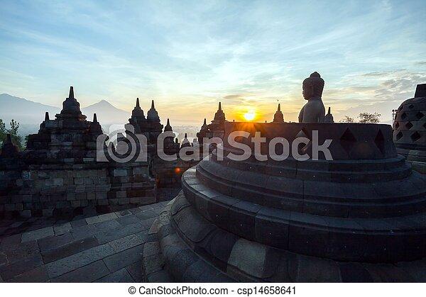 Borobudur Temple Dawn - csp14658641