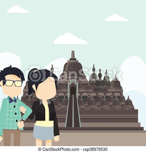 Una pareja de turistas en Borobudur - csp38979530