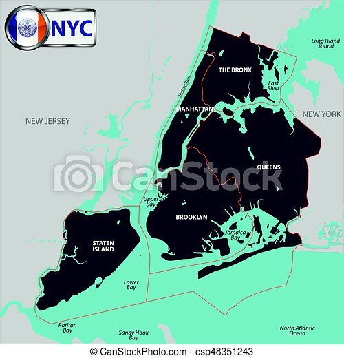 Map Of The Boroughs Of New York.Boroughs Of New York City
