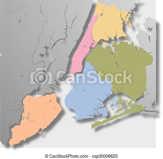 Boroughs Of New York City Outline Map High Resolution Map Of New
