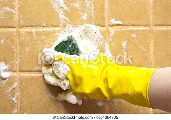 borracha, amarela, luva, mão - csp4064705