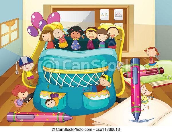 Borsa bambini scuola illystration for Scuola clipart