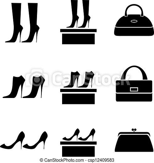 separation shoes 3f37e fa386 borse, nero, scarpe, femmina, icone