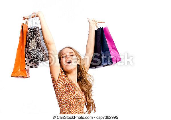 borse, shopping donna, acquirente, felice - csp7382995
