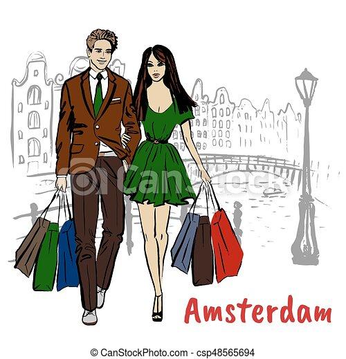b36f3460bae5 Borse, shopping donna, uomo. Borse, camminare, paesi bassi, shopping ...