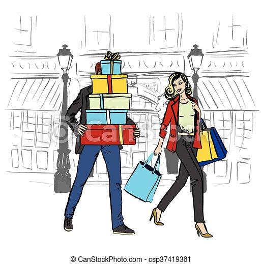 c82bb7948ed3 Borse, shopping donna, uomo. Bello, borse, camminare, shopping donna ...