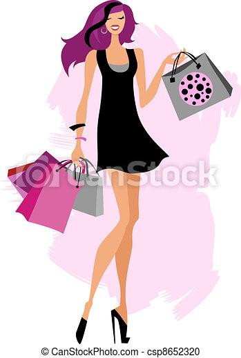 aeb58abec5fa Borse, shopping donna. Donna, bags., illustration., isolato, vettore ...