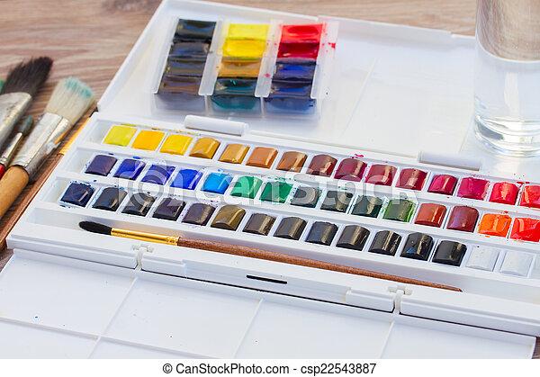 borstels, verven, watercolor, set - csp22543887