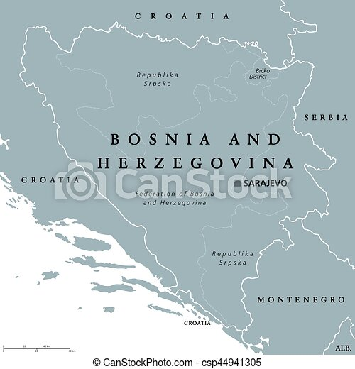Bosnia and herzegovina political map with capital sarajevo. country ...