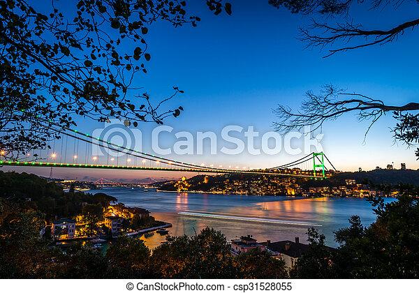 Bosphorus Bridge at night Istanbul / Turkey - csp31528055