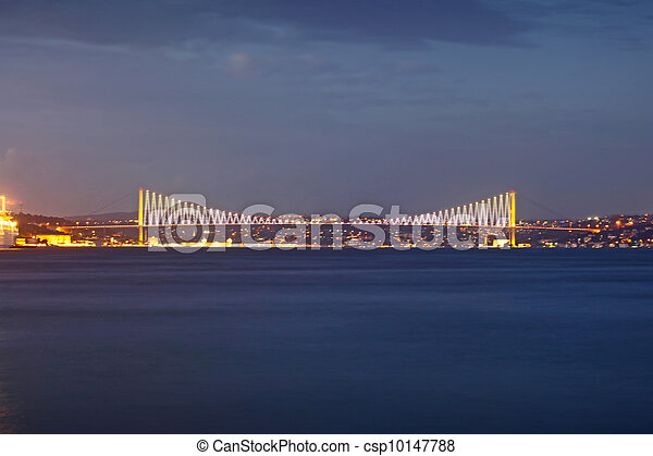 Bosporus Bridge at night Istanbul / Turkey  - csp10147788
