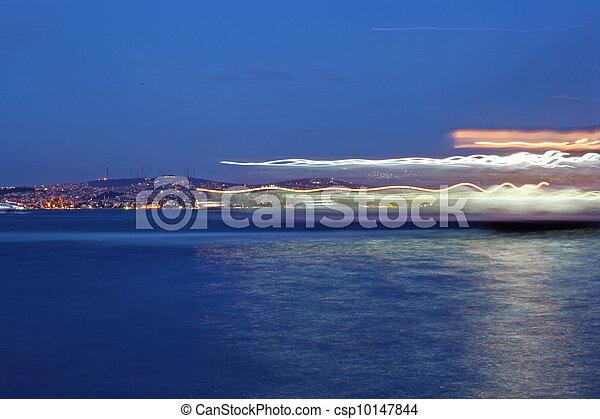Bosporus Bridge at night Istanbul,  Turkey  - csp10147844
