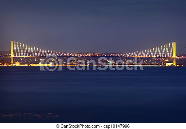 Bosporus Bridge at night Istanbul / Turkey  - csp10147996