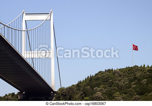 Bosporus bridge with Turkish flag - csp16803067