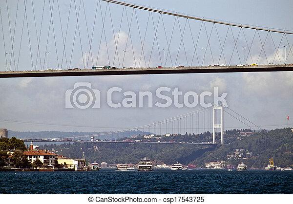 Bosporus bridges in Istanbul, Turkey - csp17543725