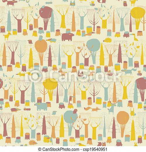 bosque, animais, seamless, padrão - csp19540951