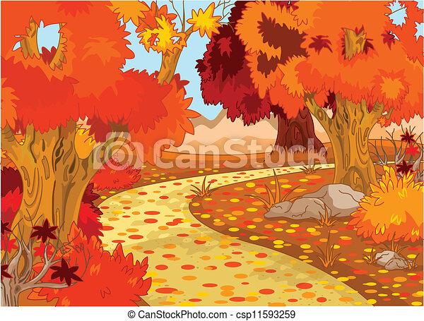 Bosque de otoño, paisaje. Otoño, dorado, bosque, paisaje vector de ...