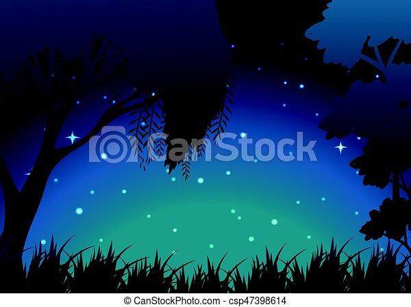 Escena del bosque por la noche - csp47398614