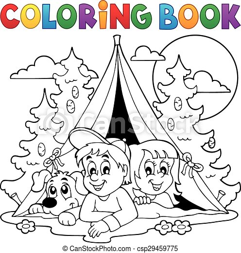 Bosque, libro colorear, campamento, niños. Colorido, eps10 ...
