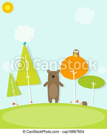 Un oso cartón en el bosque - csp16867654