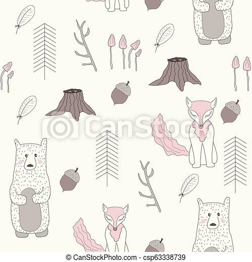 bosque, pattern., seamless, escandinavo - csp63338739